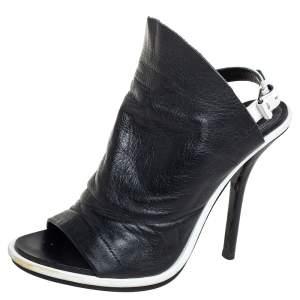 Balenciaga Black Leather Open Toe Glove Slingback Sandals Size 37