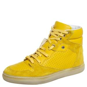 Balenciaga Yellow Suede And Perforated Leather High Top Sneakers Size 38