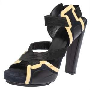 Balenciaga Tri Color Suede and Patent Leather Elastic Strap Platform Sandals Size 40
