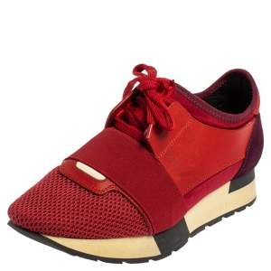 Balenciaga Red/Purple Suede And Leather Race Runner Low Top Sneakers Size 37