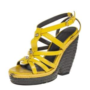 Balenciaga Yellow Leather Wedge Ankle Strap Sandals Size 38