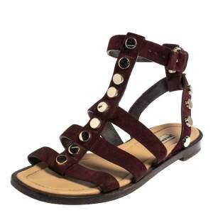 Balenciaga Burgundy Suede Studded Gladiator Flat Sandals Size 36