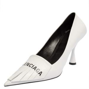 Balenciaga White Leather Knife Fringes Pointed Toe Pumps Size 40