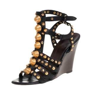 Balenciaga Black Leather Arena Studded Gladiator Wedge Sandals Size 41