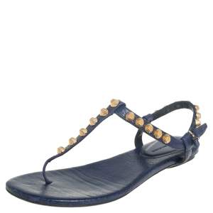 Balenciaga Blue Leather Studded Arena Thong Flat Sandals Size 37.5
