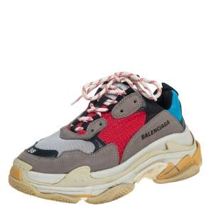 Balenciaga Multicolor Leather And Mesh Triple S Sneaker Size 38