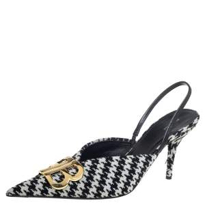 Balenciaga Black/White Cotton Knife Pointed Toe Sandals Size 41
