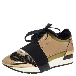 Balenciaga Gold/Black  Leather And Suede Race Runner Sneakers Size 36