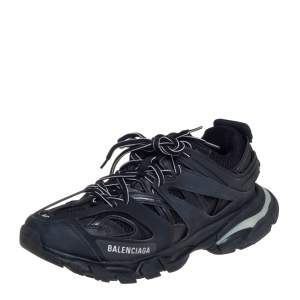 Balenciaga Black Leather And Mesh Track Sneakers Size 40