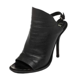 Balenciaga Black Leather Open Toe Slingback Mule Sandals Size 39