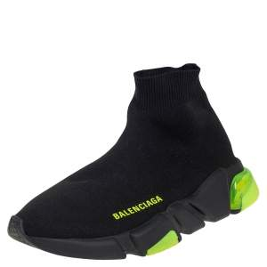 Balenciaga Black/Neon Green Knit Fabric Speed Clear Sole Sneakers Size 37