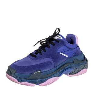 Balenciaga Purple Nylon And Suede Triple S Low Top Sneakers Size 37