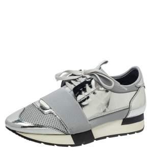 Balenciaga Metallic Silver/Grey Race Runner Sneakers Size 38