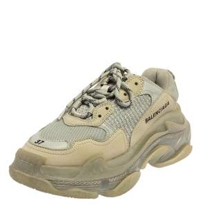 Balenciaga Grey Mesh And Leather Triple S Low Top Sneakers Size 37
