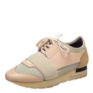Balenciaga Pink/Grey Leather, Mesh Race Runner Sneakers Size 37