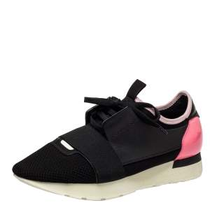 Balenciaga Pink/Black Mesh And Leather Race Runner Sneakers Size 40