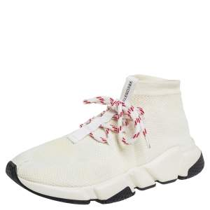 Balenciaga Cream Knit Fabric Speed Lace Up Trainer Sneakers Size 39