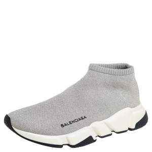 Balenciaga Grey Knit Speed Trainer Sneakers Size 40