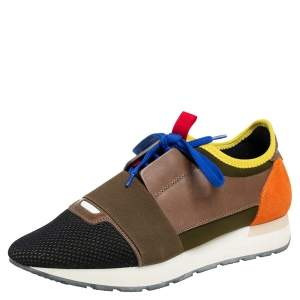 Balenciaga Multiocolor Mesh And Leather Race Runner Low Top Sneakers Size 40