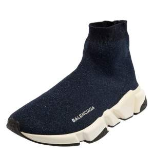 Balenciaga Navy Blue Shimmery Knit Fabric Speed Trainer High Top Sneakers Size 40