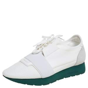 Balenciaga White Mesh And Leather Race Runner Sneakers 40