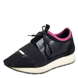 Balenciaga  Black/Pink Suede And Leather Race Runner Sneakers Size 36