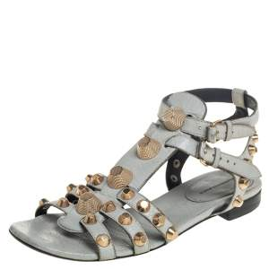Balenciaga Grey Leather Studded Ankle Strap Flat Sandals Size 38.5