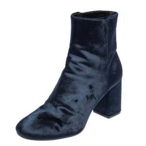 Balenciaga Dark Blue Velvet Ville Ankle Boots Size 38