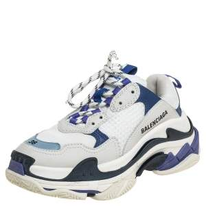 Balenciaga White/Blue Leather And Mesh Triple S Chunky Sneakers Size 36