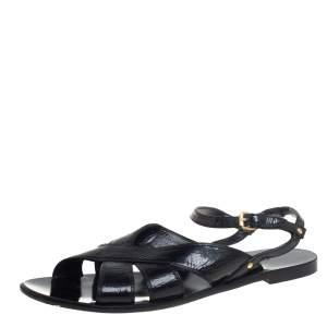 Balenciaga Black Glossy Leather Crisscross Flat Sandals Size 37