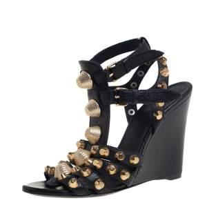 Balenciaga Black Leather Arena Studded Gladiator Wedge Sandals Size 37