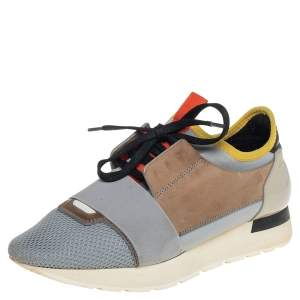 Balenciaga Multicolor Mesh And Leather Race Runner Sneakers Size 38