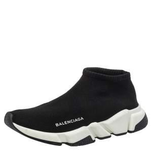 Balenciaga Black Knit Fabric High Top Sneakers Size 40