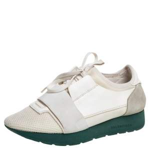 Balenciaga White Mesh And Leather Race Runner Low Top Sneakers Size 37