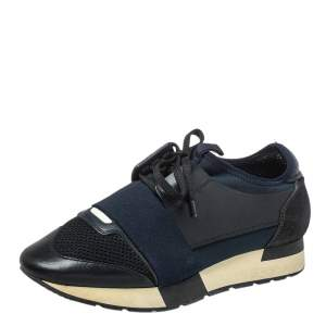 Balenciaga Black/Blue Leather And Mesh Race Runner Sneakers Size 38