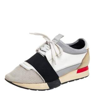 Balenciaga Multicolor Mesh And Leather Race Runner Low Top Sneakers Size 38