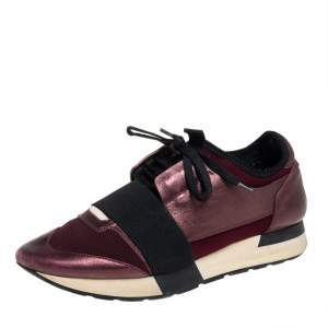 Balenciaga Burgundy Leather And Fabric Race Runner Sneakers Size 39