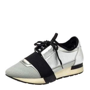 Balenciaga Silver/ Grey Leather And Fabric Race Runner  Sneakers Size 38