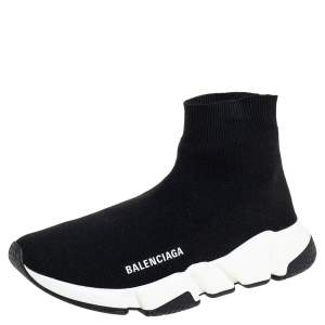 Balenciaga Black Knit Fabric Speed Trainer Sneakers Size 39