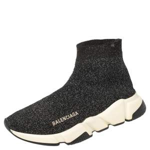Balenciaga Black Knit Fabric Speed Trainer Sneakers Size 37