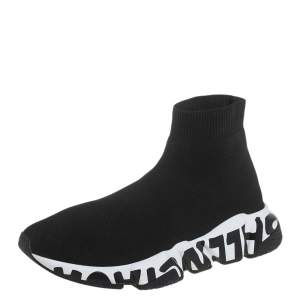 Balenciaga Black Knit Fabric Speed Trainer High Top Sneakers Size 37