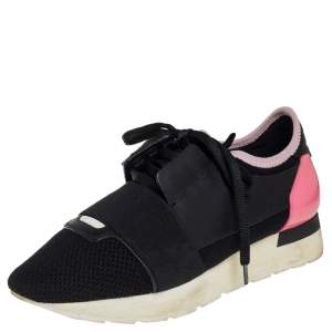 Balenciaga Black/Pink Leather And  Mesh Race Runner Sneakers Size 37