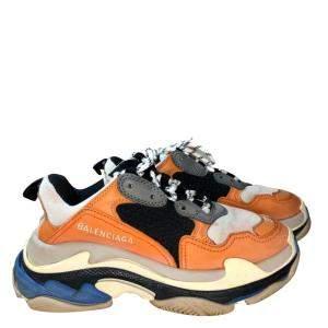 Balenciaga Multicolor Triple S Orange Grey Black Sneakers Size EU 37