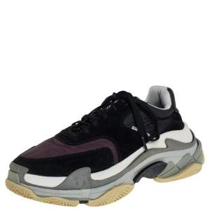 Balenciaga Black/Burgundy Suede, Leather And Fabric Triple S Low Top Sneakers Size 40