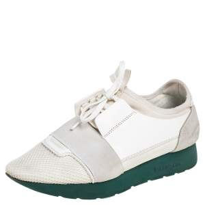 Balenciaga White Leather, Mesh Race Runner Sneakers Size 38