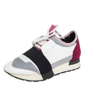 Balenciaga Multicolor Mesh And Leather Race Runner Low Top Sneakers Size 37