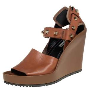 Balenciaga Brown Leather Wedge Ankle Strap Sandals Size 38.5