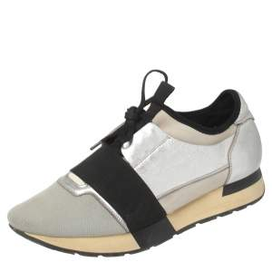 Balenciaga Silver/Black Leather And Fabric Race Runner Sneakers Size 40