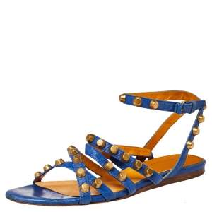 Balenciaga Blue Studded Leather Arena Strappy Flat Sandals Size 38