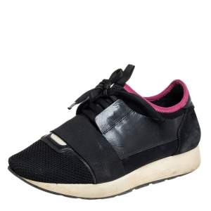 Balenciaga Black/Pink Suede And Mesh Race Runner Sneakers Size 38
